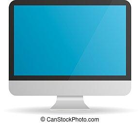 bleu, moniteur, écran, informatique, fond, blanc