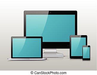 bleu, moniteur, tablette, téléphone, mobile, écran, ordinateur portable, pc, noir