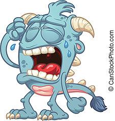 bleu, monstre, pleurer