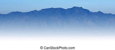 bleu, montagne, EXTÉRIEUR,  nature,  de, ciel, lumière soleil, fond, vue