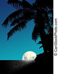 bleu, monter, lune
