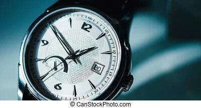 bleu, montre, luxe, fond