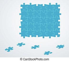 bleu, morceaux puzzle