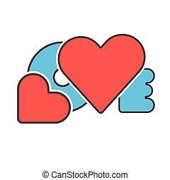 bleu, mot, amour, rouges