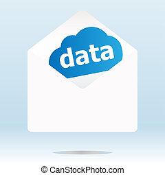bleu, mot, enveloppe, courrier, données, nuage