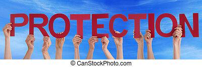 bleu, mot, gens, beaucoup, directement, ciel, protection, tenant mains, rouges