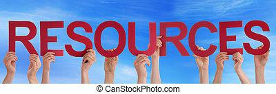 bleu, mot, gens, beaucoup, directement, ciel, rouges, tenant mains, ressources