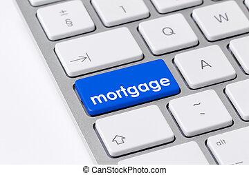 bleu, mot, hypothèque, bouton, une, clavier