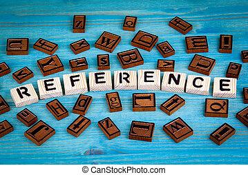 bleu, mot, référence, bois, alphabet, écrit, bois, fond, block.