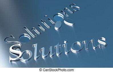 bleu, mot, sur, métallique, solutions, fond