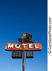 bleu, motel, ciel, contre, signe