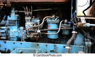 bleu, moteur, diesel, détail, camion, tracteur