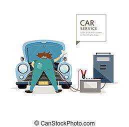 bleu, moteur, service, voiture, ouvriers, mécanicien
