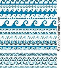 bleu, motifs, seamless, vague