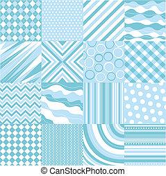 bleu, motifs, seamless