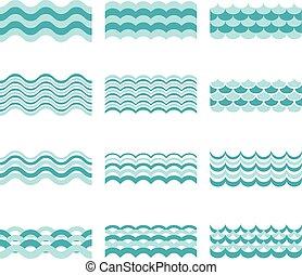bleu, motifs, vecteur, seamless, vague