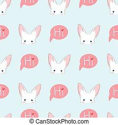 bleu, moucharder, fond blanc, lapin