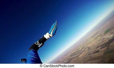 bleu, mouche, ciel, arizona., ensoleillé, parachute, skydiver, au-dessus, professionnel, day., ouvert