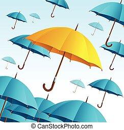 bleu, mouche, parapluie, jaune, vecteur, high.