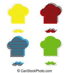 bleu, moustache, signe., chef cuistot, jaune, vert, vector., ic, chapeau, rouges