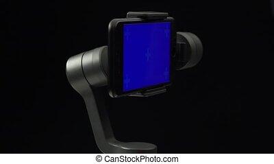 bleu, mouvement, écran, smartphone., steadicam