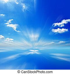bleu, mouvement, ciel, fond, barbouillage