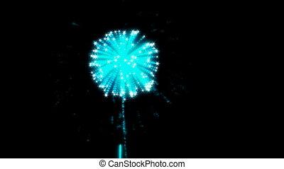 bleu, mouvement, feux artifice, lent, loopable
