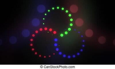 bleu, mouvement, mené, astract, couleur, grb, seamless, tourner, arrière-plan., animation, vert, 4k, mélange, cirles, concepts., ou, boucle, rouges