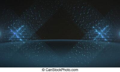 bleu, mouvement, points, fond, résumé, lignes