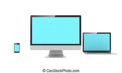 bleu, multiple, pc, plateformes, concept., isolé, ordinateur portable, téléphone, computer., blanc, bureau, écran, loops.