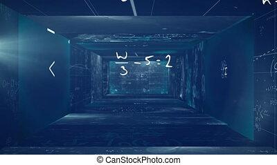 bleu, murs, animation, flotter, écrit, formulae, ...
