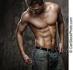bleu, musculaire, homme, jeune, jean, corps