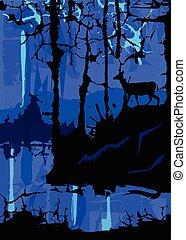 bleu, mystérieux, paysage