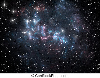bleu, nébuleuse, étoile, espace