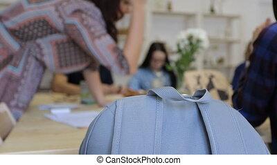 bleu, nécessaire, outils, sac à dos, mensonges, chair., fournitures, peinture