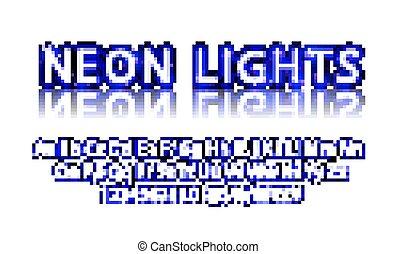 bleu, néon, lampe, vecteur, cinéma, police
