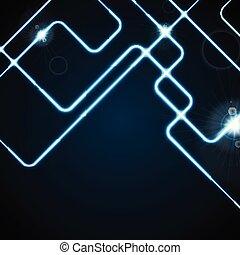 bleu, néon, résumé, lignes, incandescent, fond, géométrique