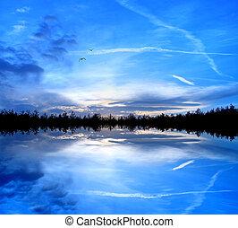 bleu, nature