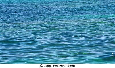 bleu, nature, profond, 4k, mer, horizontal