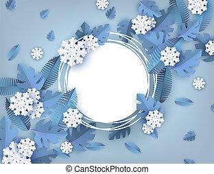 bleu, naturel, arbre hiver, feuilles, -, forme., illustration, vecteur, flocons neige, vide, blanc, bannière, autour de