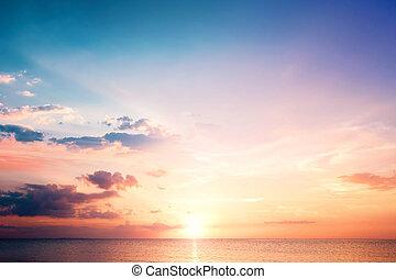 bleu, naturel, ciel, arrière-plans, coucher soleil, fond, nuages, concept:
