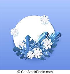 bleu, naturel, hiver, snowflakes., feuilles, arbre, illustration, vecteur, tomber, bannière, blanc
