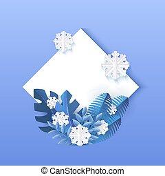 bleu, naturel, hiver, snowflakes., feuilles, illustration, rhombe, forme, vecteur, blanc, bannière