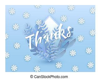 bleu, naturel, hiver, snowflakes., texte, feuilles, arbre, illustration, vecteur, conception, remerciement, fond