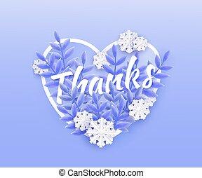 bleu, naturel, hiver, snowflakes., texte, feuilles, illustration, vecteur, conception, remerciement, tomber