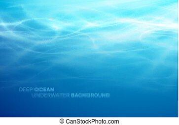 bleu, naturel, résumé, eau profonde, arrière-plan., vecteur,...