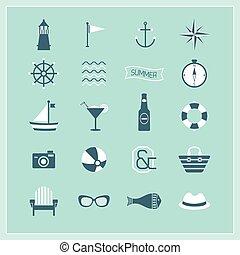 bleu, naval, plage, été, icônes