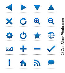 bleu, navigation, icônes toile