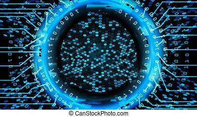bleu, network., concept, technologie, résumé, système, cyber, arrière-plan., avenir, vecteur, illustration, numérique, sécurité, print., électronique, design.