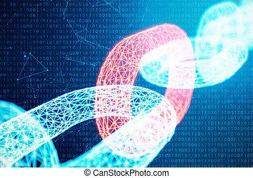 bleu, network., réseau, concept, liens, chaîne, technology., concept, point, illustration, polygonal, incandescent, code., rouges, bloc, cryptocurrency, numérique, grille, 3d, triangles, bas